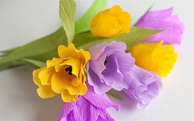 Как сделать тюльпан из крепированной бумаги своими руками