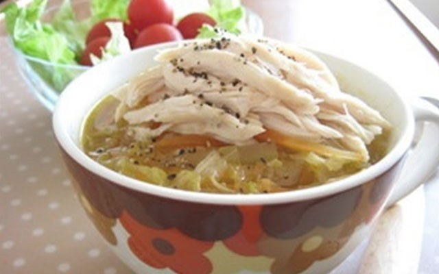 Cách nấu súp bắp cải thịt gà