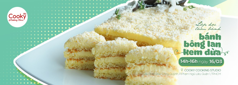 Lớp Bánh Bông Lan Dừa Kem Vanilla