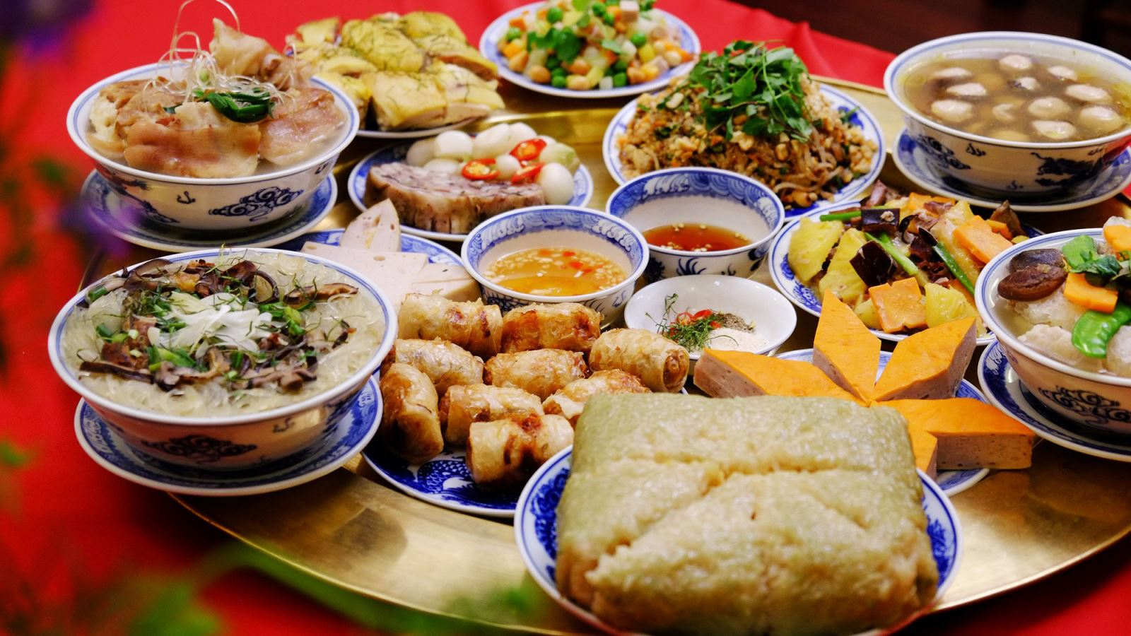 A traditional food tray in Vietnamese New Year Day