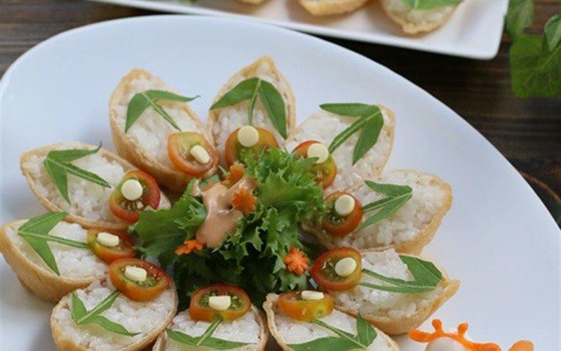Cách Làm Sushi Đậu Hũ Hình Hoa Bắt Mắt Ngon Miệng