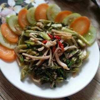 Cách làm Mực Xào Dưa Cải Chua hấp dẫn cho bữa cơm gia đình