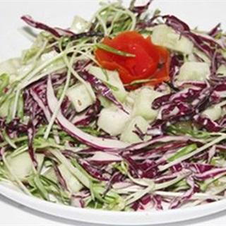 Cách làm Salad Rau Mầm Trộn Bắp Cải Tím đơn giản, lạ miệng