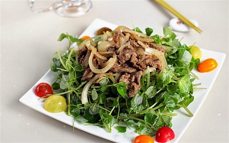 Cách làm gỏi thịt bò trộn rau càng cua