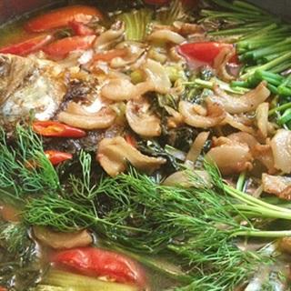 Cách nấu lẩu cá chép dưa cải chua