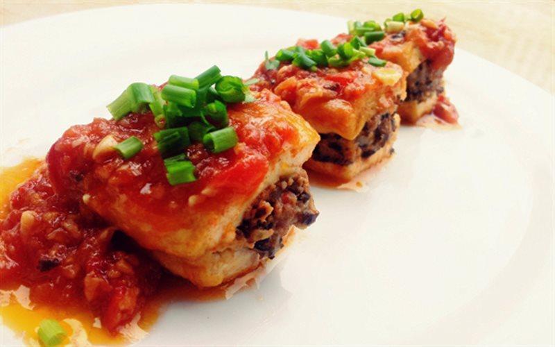 Cách làm Đậu Hũ Nhồi Thịt Sốt Cà đậm đà cực ngon cho cả nhà