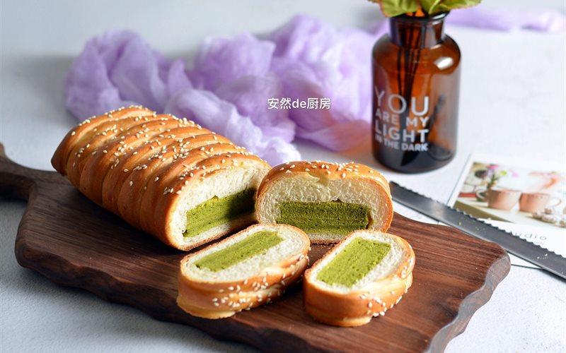 Cách Làm Bánh Mì Gối Nhân Bông Lan Trà Xanh Ngon