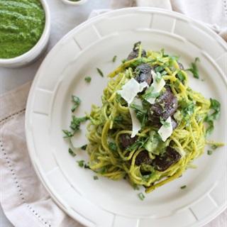 Cách làm Pasta nấm sốt Pesto húng quế