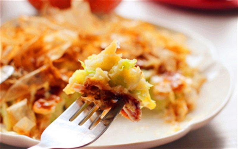 Cách làm Bánh Xèo Kiểu Nhật rưới sốt okonomiyaki thơm lừng