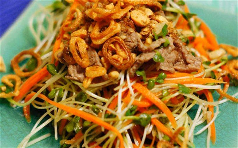 Cách làm salad rau mầm trộn