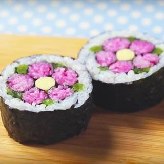 Cách trang trí Sushi hình hoa đào Nhật Bản - How to decorate Ume Sushi Roll