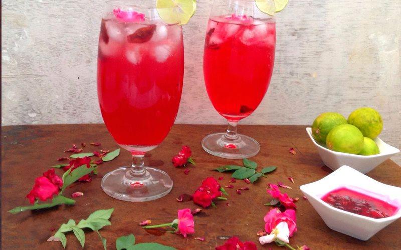 Cách làm soda hoa hồng
