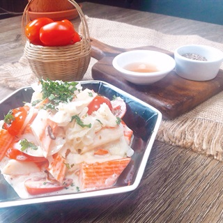 Salad thanh cua nấm tuyết sốt trứng