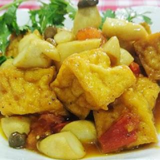 Cách làm đậu hũ kho nấm đùi gà