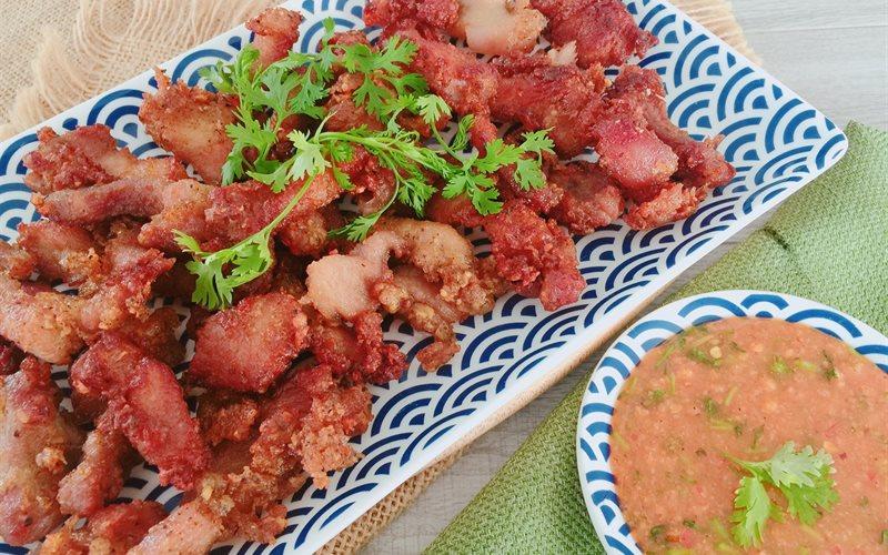 Cách làm Thịt heo chiên giòn muối ớt tôm