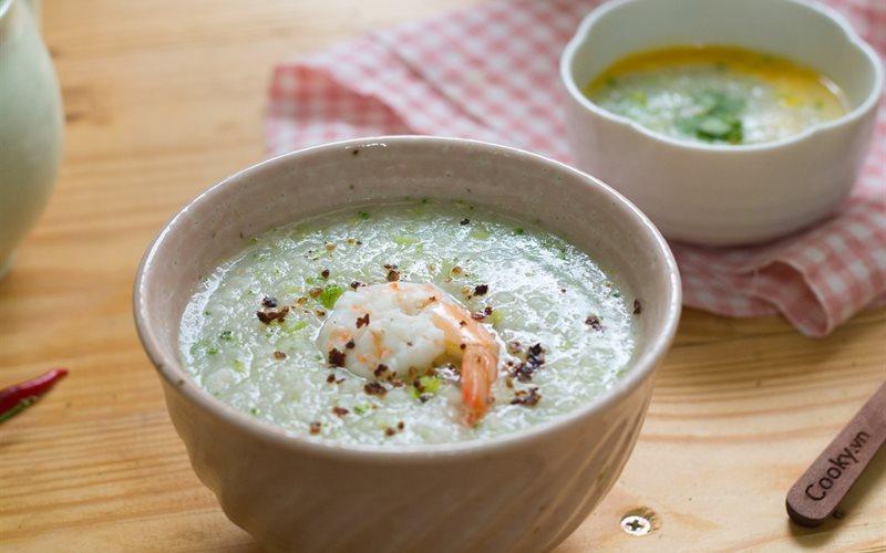 Cách làm Cháo tôm súp lơ
