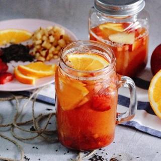 Cách làm Trà đen cam mứt táo dâu tây