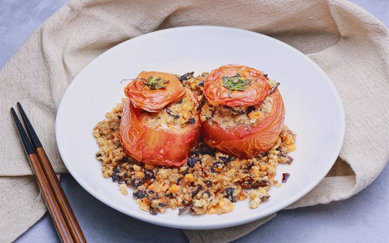 Cách làm Cà chua nhồi đậu chiên chay