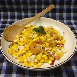 Bắp xào trứng muối tôm khô thơm ngon béo bùi