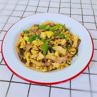 Cách làm trứng chiên xào nấm sò và ớt xanh