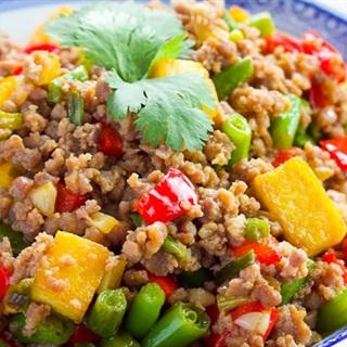 Cách làm Thịt bằm xào đậu hũ rau củ