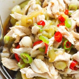 Cách làm Thịt gà trộn cà tím sốt tương mè