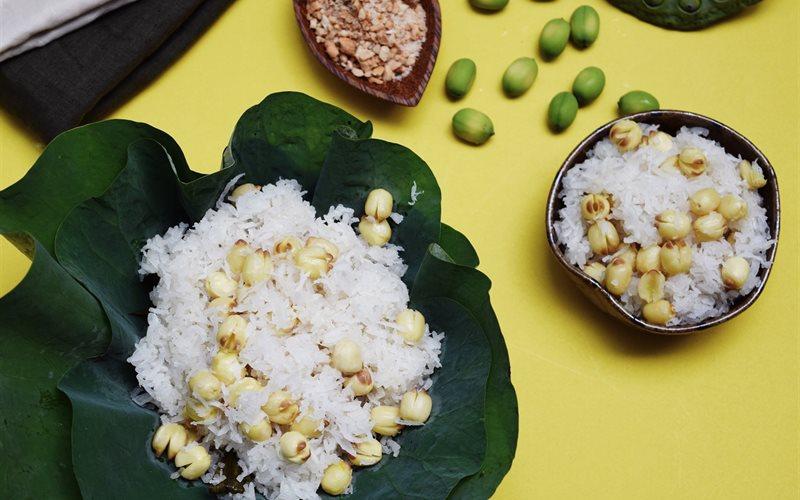 Cách làm Xôi Dừa Hạt Sen thanh thơm cho bữa sáng ngày Tết