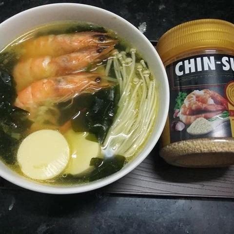 "Canh <a href=""https://www.rongbienhanquoc.net/san-pham.html"">rong biển</a> nấu tôm hạt nêm CHINSU"