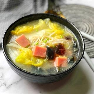 Cách nấu Súp Nấm Kim Châm cải thảo dinh dưỡng cho bé