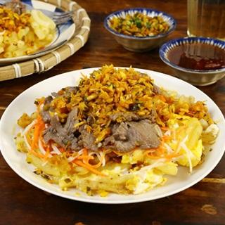 Cách làm Nui Chiên Xá Bấu bắp cải thịt bò thơm ngon