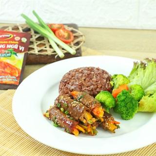 Cách làm Thịt Bò Cuộn Rau Củ Nướng thơm lừng hấp dẫn cho cả gia đình