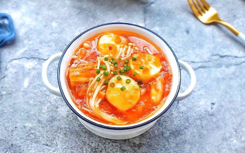 Cách làm Đậu Hũ Trứng Sốt Cà Chua Nấm Kim Châm cực đơn giản