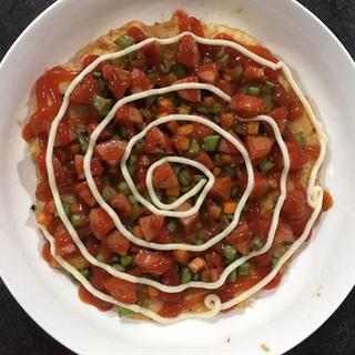 Cách Làm Bánh Pizza Cơm Chiên Trứng rau củ đơn giản