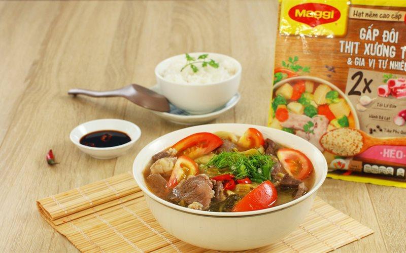 Cách nấu canh cải chua thịt bò đơn giản, dậy vị