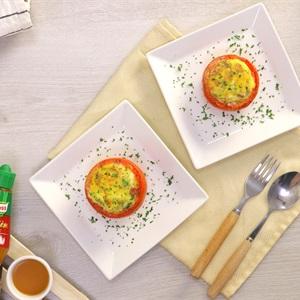 Trứng nướng cà chua thịt xông khói