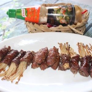 Thịt bò cuốn nấm kim châm nướng lò