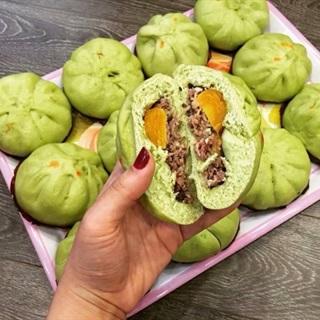 Cách Làm Bánh Bao Lá Dứa Nhân Mặn | Siêu Đơn Giản