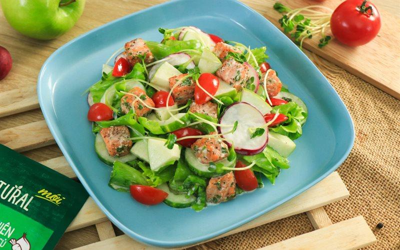 Cách Làm Salad Táo Cá Hồi Sốt Sữa Chua   Thanh Mát Ngon Miệng