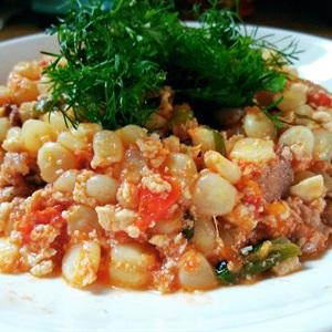 Ngô xào thịt đậu cà chua đơn giản