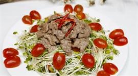 Cách làm rau mầm trộn thịt bò