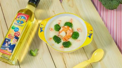 Cách nấu cháo tôm bông cải phô mai cho bé