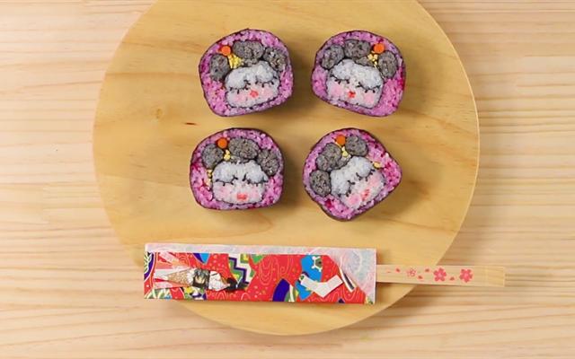 Cách trang trí Sushi hình kỹ nữ Nhật Bản - How to decorate sushi roll Maiko style
